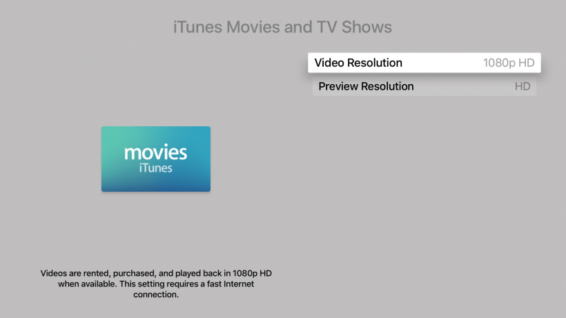 How do I change video streaming resolution on Apple TV