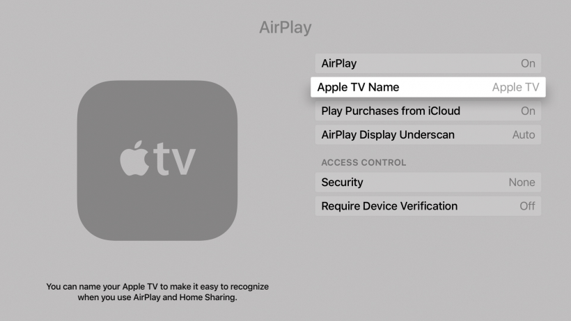 Rename Apple TV