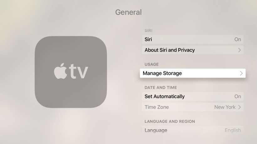 Manage storage on Apple TV