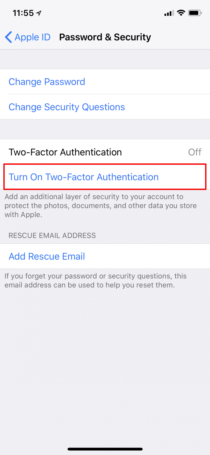 How to activate two factor authentication (2FA) for Apple ID on iPhone and iPod.