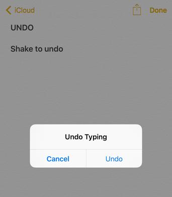Shake to undo iOS