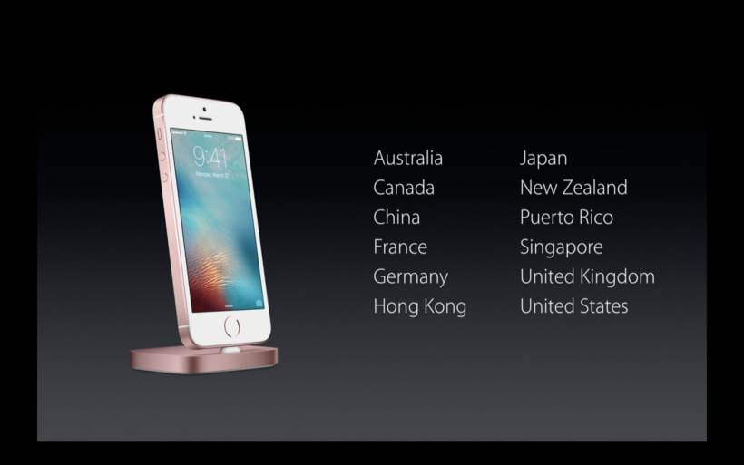 iPhone SE initial launch markets