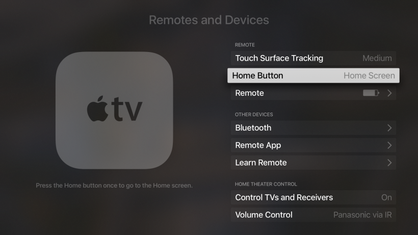 Apple TV Home Button TV App