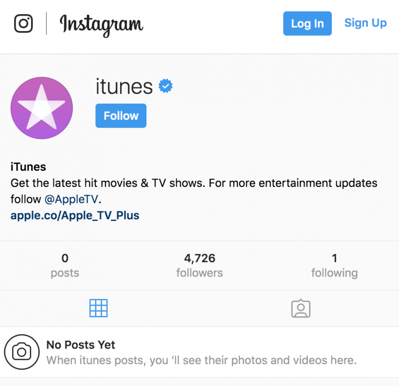 iTunes Instagram No Posts Yet