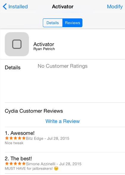 Ratings within Cydia