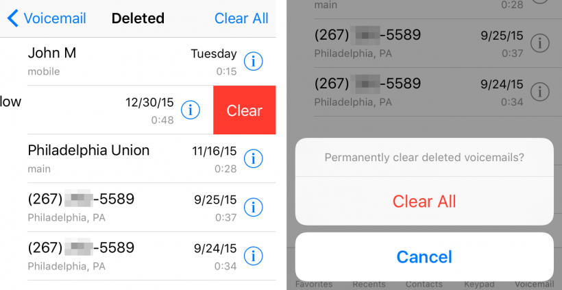 Clear Visual Voicemail messages