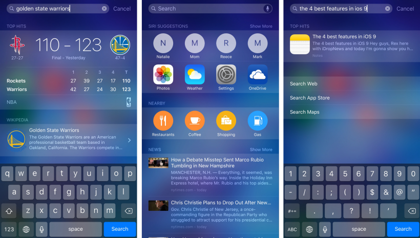 iOS 9 Spotlight Search