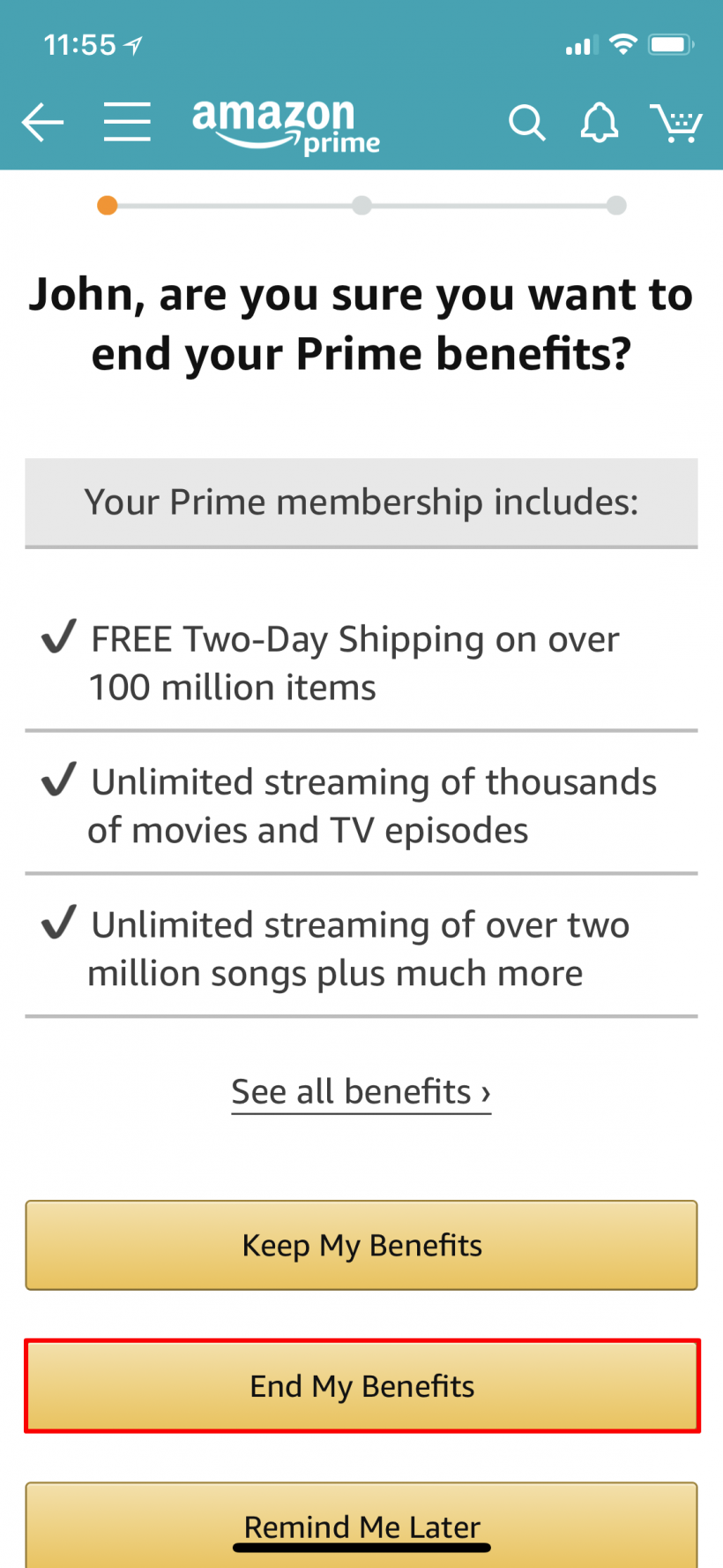 how to cancel your amazon prime membership on iphone the iphone faq. Black Bedroom Furniture Sets. Home Design Ideas