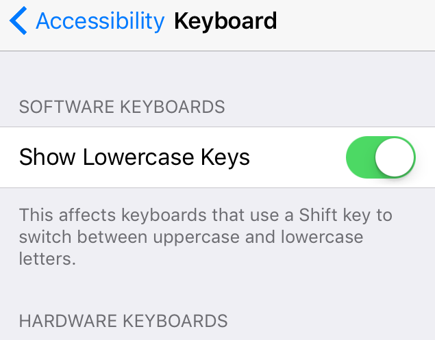 Show Lowercase Keys iOS