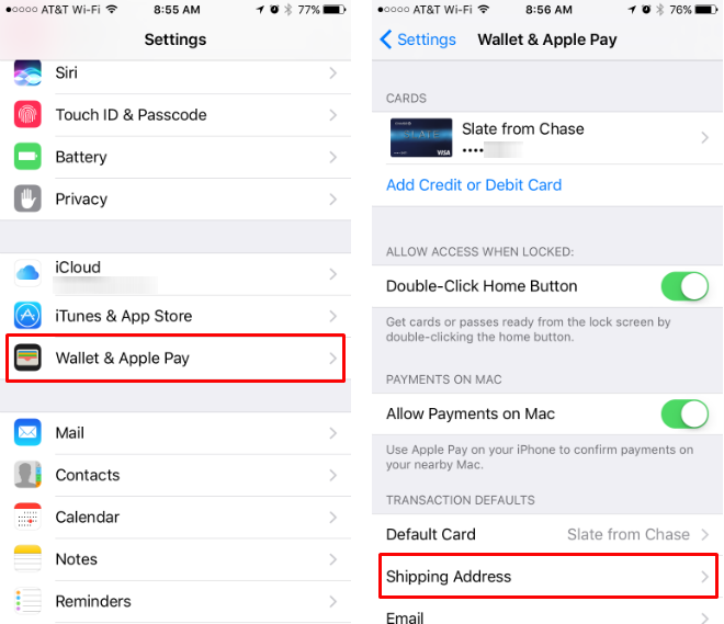 How to change, update, add and delete the shipping address for Apple Pay.