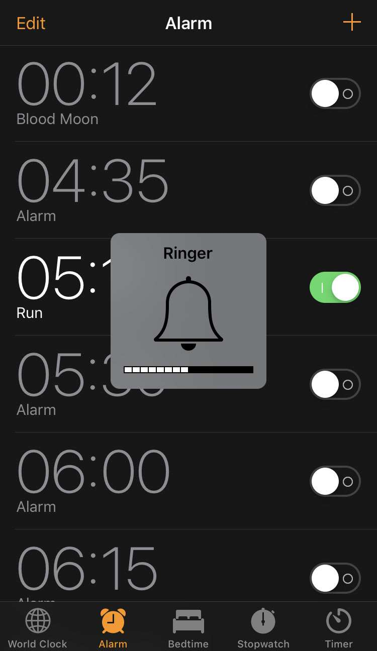Change volume iOS alarm ringer physical buttons