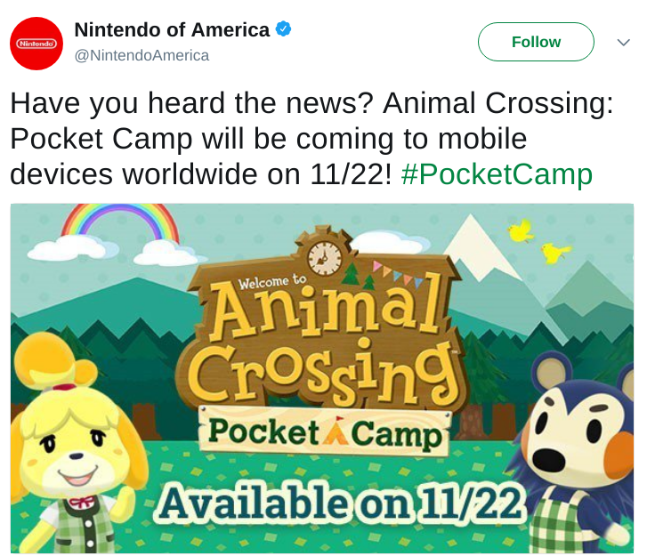 Animal Crossing Tweet