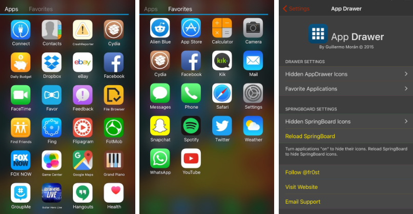 Android App Drawer iOS 9