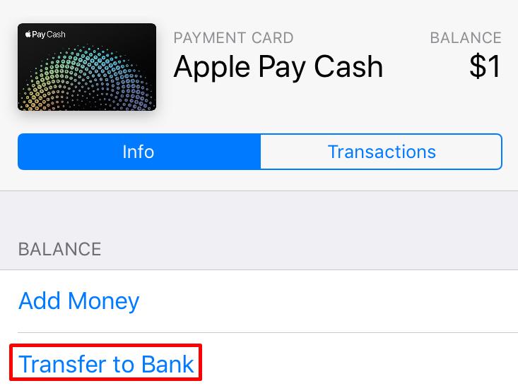 Apple pay transfer money credit card