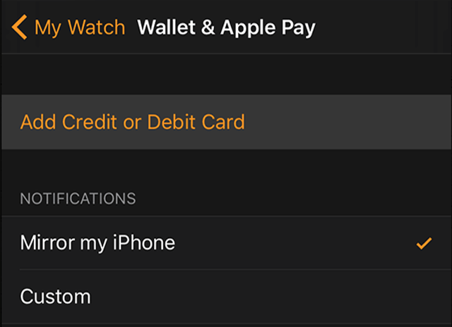 Apple Watch credit card NFC