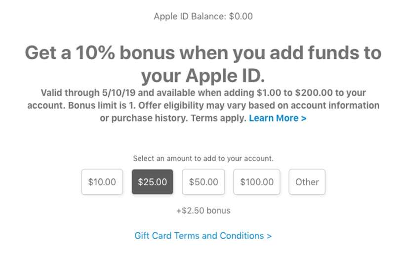 Add funds to Apple ID