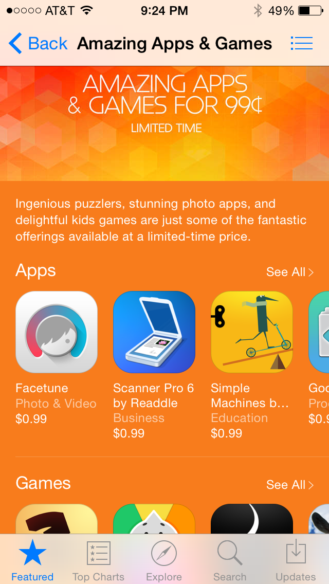 "App Store launches ""Amazing Apps & Games for 99¢."""