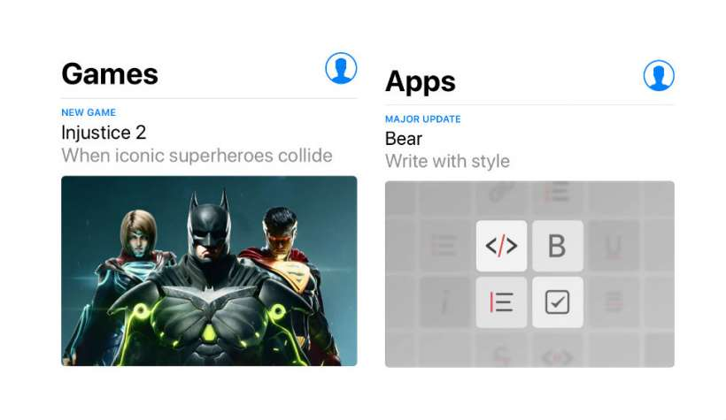 Games and Apps Tabs iOS 11