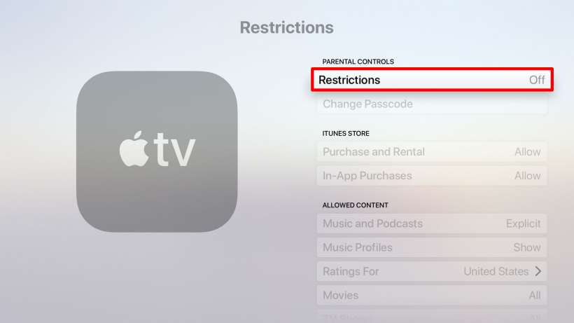 How to set parental restrictions on Apple TV.