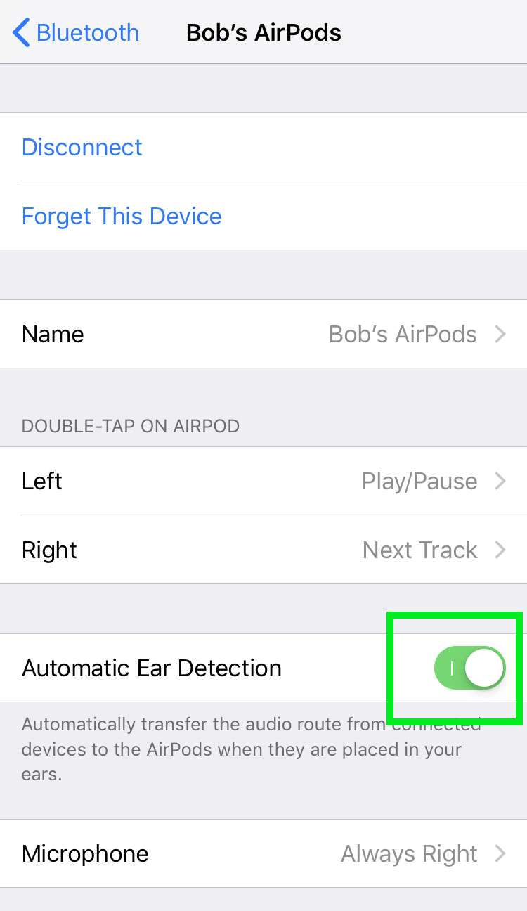AirPods disable Automatic Ear Detection 3