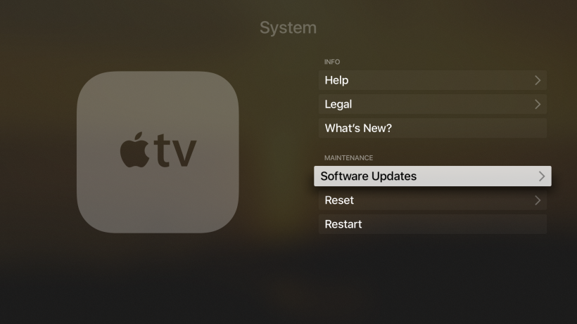 Stop auto system updates Apple TV 4G