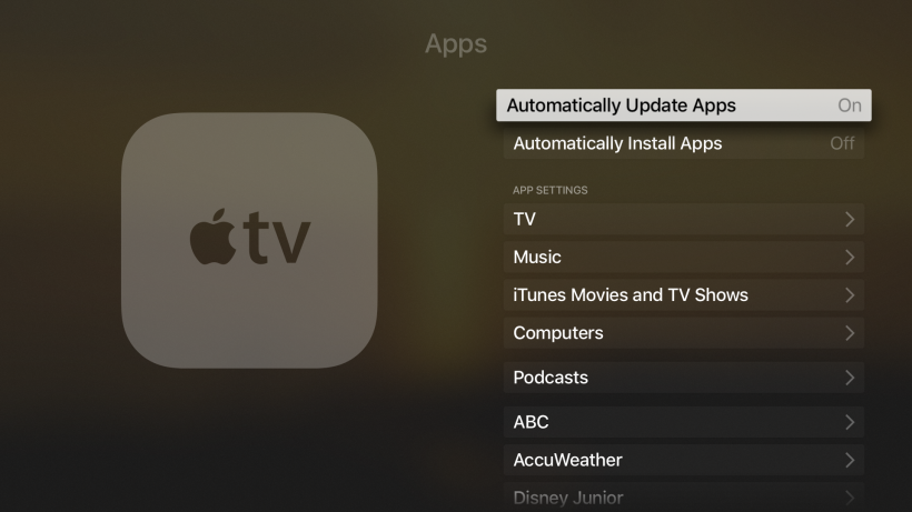 Disable auto app updates Apple TV 4G