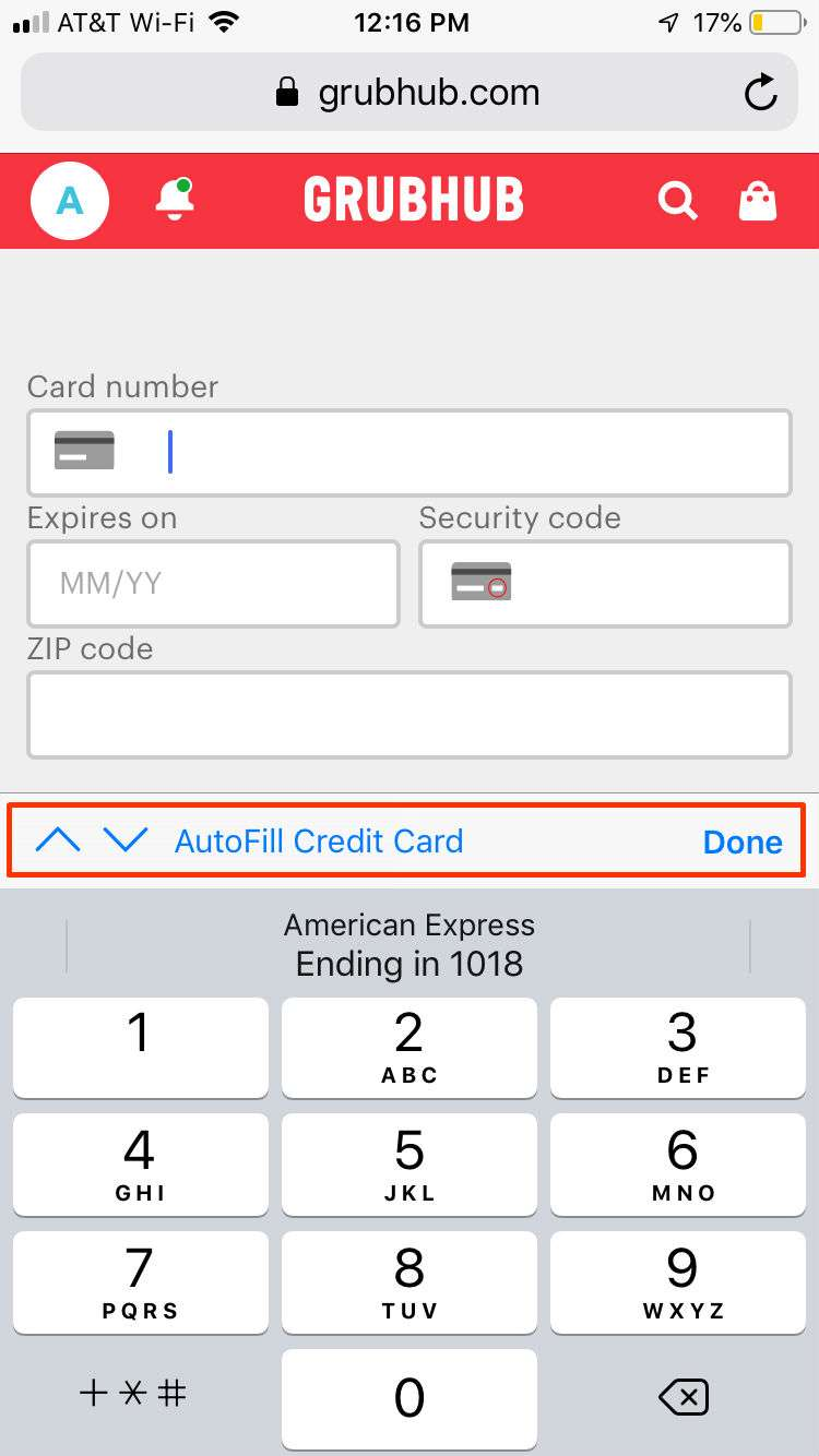 Autofill Credit Card iPhone2