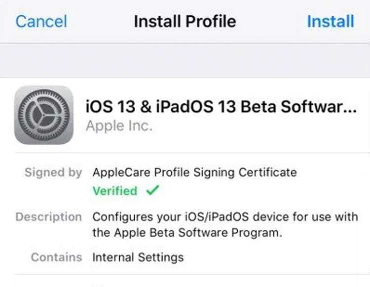 Profile signing certificate iPhone