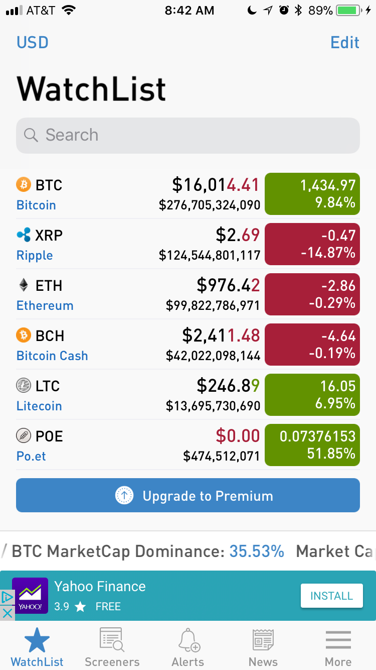 Bitscreener app for tracking cryptocurrency portfolios on iPhone and iPad.