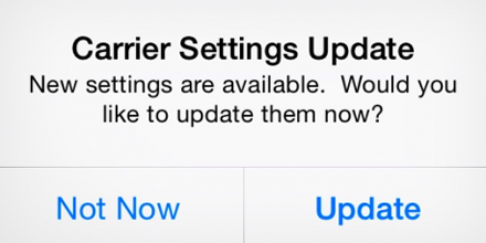 iPhone carrier settings update