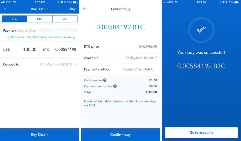 How to buy Bitcoin, Ethereum or Litecoin with Coinbase on iPhone or iPad.