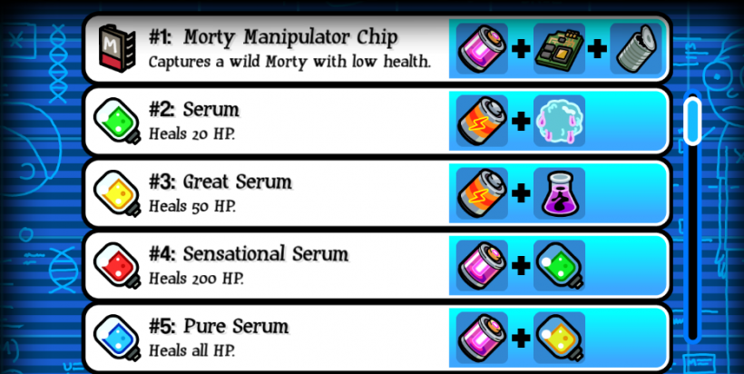 Pocket Mortys Crafting Recipes 1-5