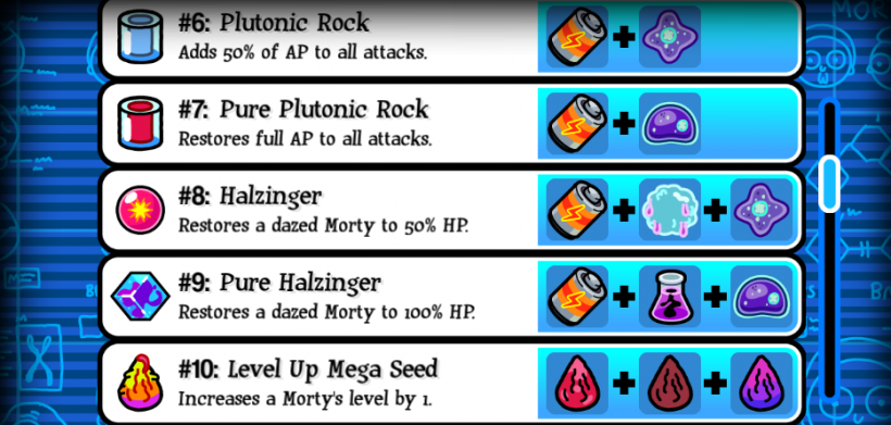 Pocket Mortys Crafting Recipes 6-10
