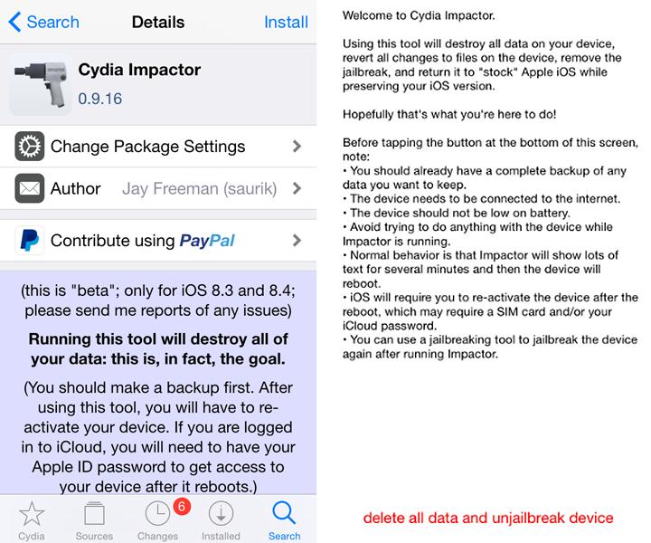 Cydia Impactor unjailbreak tool