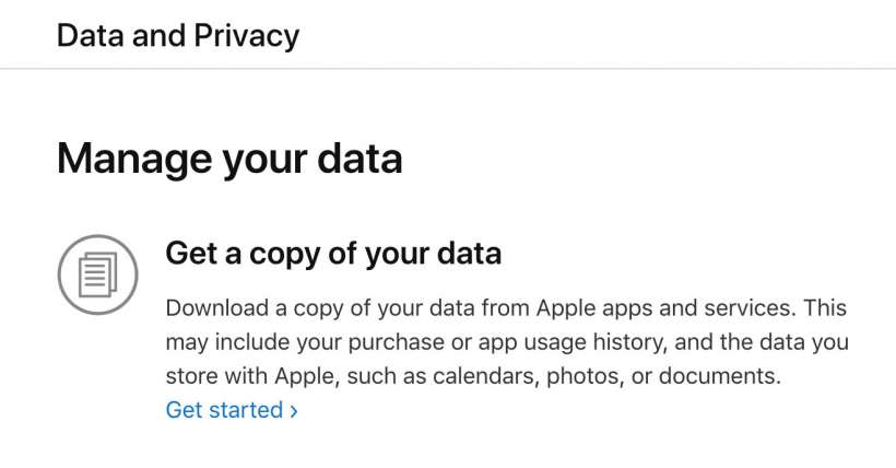 Apple personal data download