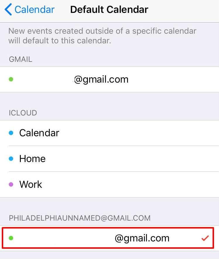 Default Calendar