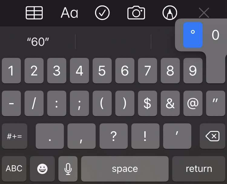 Degree symbol iPhone keyboard