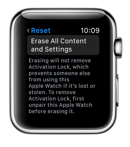 Delete data from Apple Watch