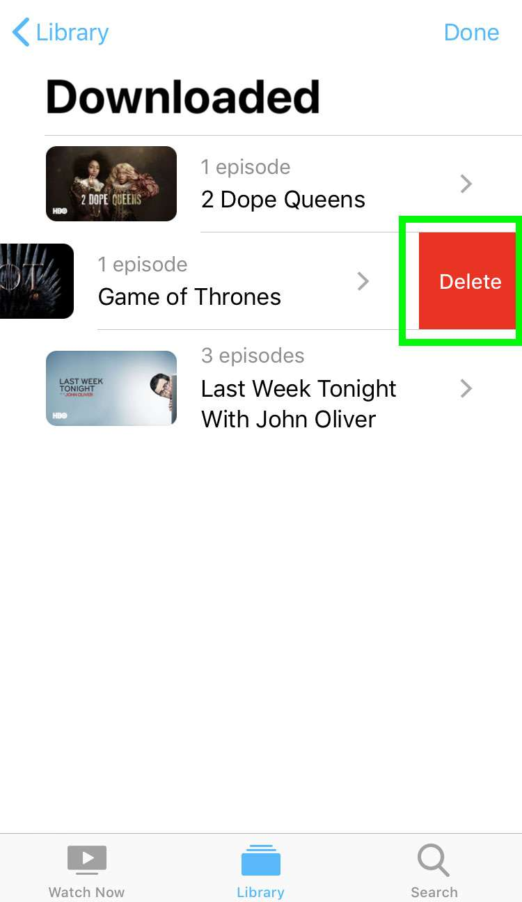 Delete stored shows iOS Apple TV app 2
