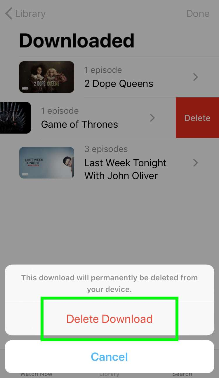 Delete stored shows iOS Apple TV app 3
