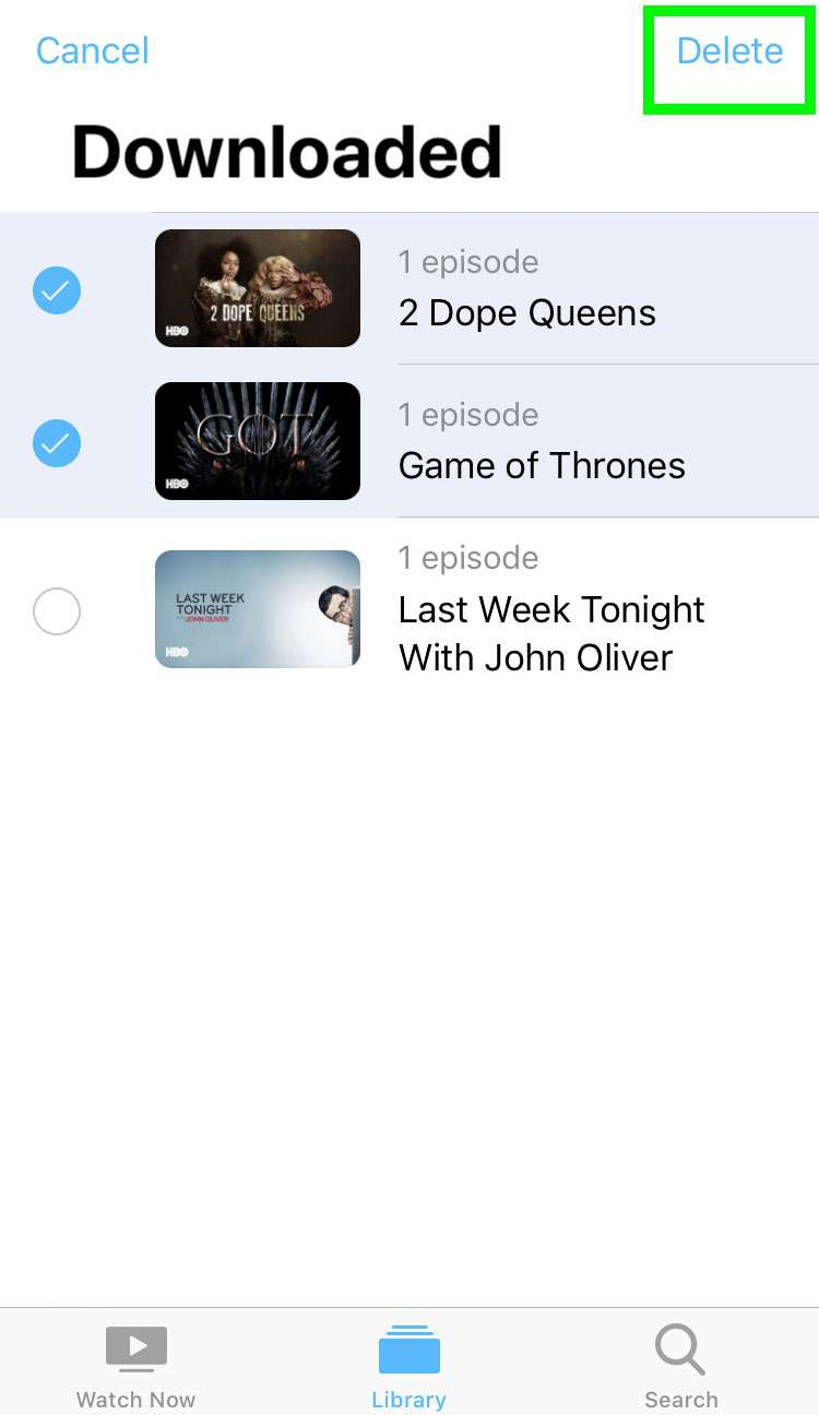 Delete stored shows iOS Apple TV app 5