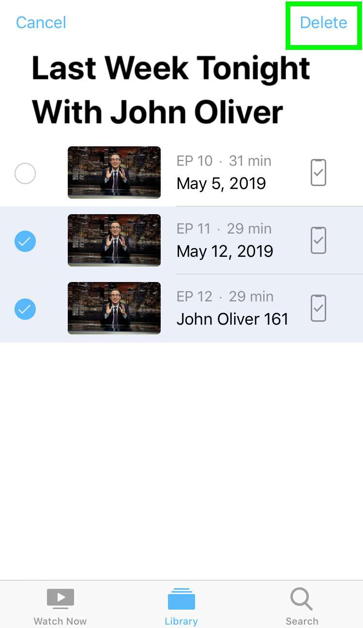 Delete stored shows iOS Apple TV app 9