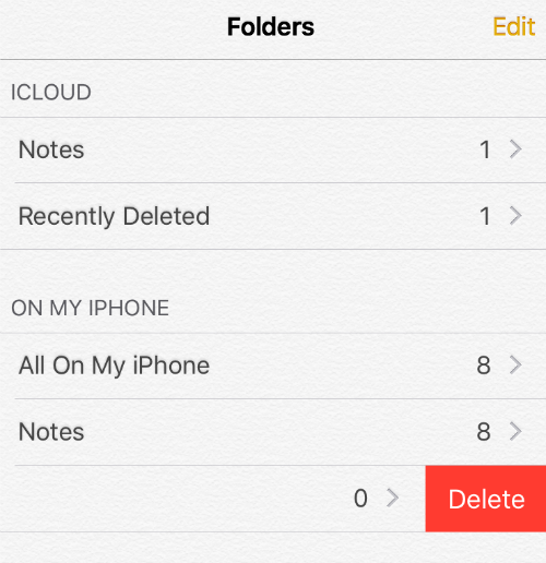 Delete Notes Folder iOS