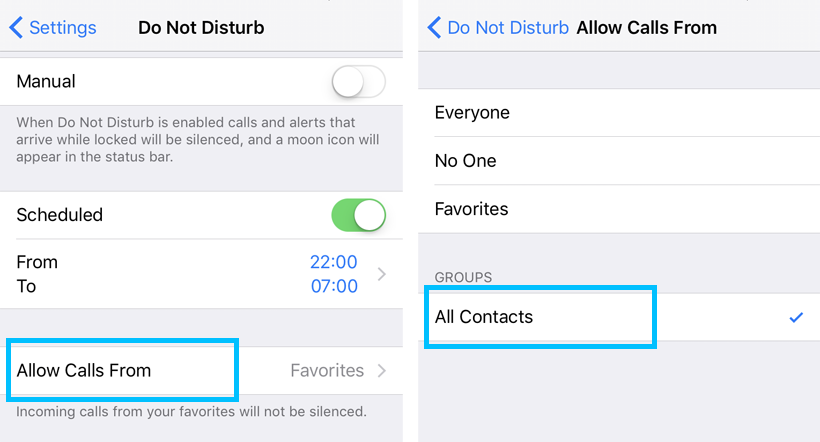 Only allow Contacts to call iPhone