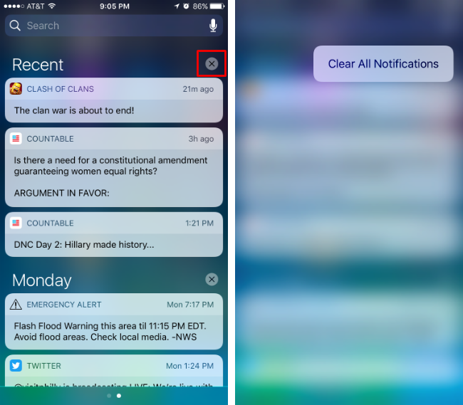 How to clear all notifications at the same time in Notification Center.