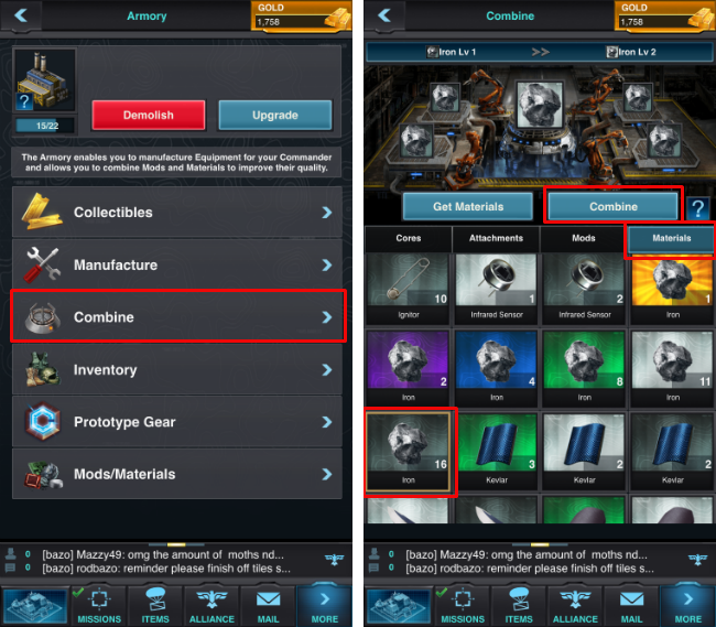 How to combine mods and materials on Mobile Strike.
