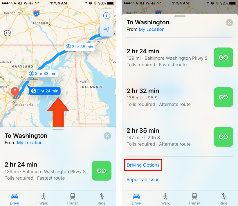 How to avoid toll roads and highways on iOS Maps.