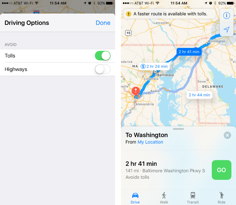 How to avoid toll roads and highways on Apple Maps app.