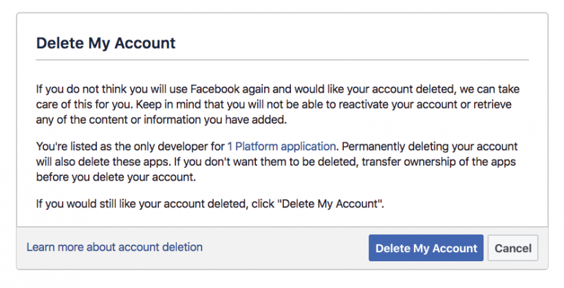 Facebook delete account permanently