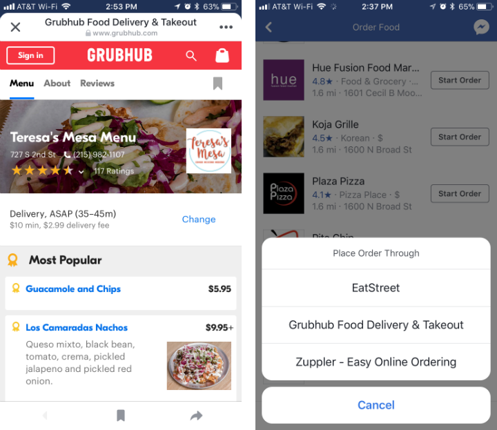 How to order food through Facebook on iPhone and iPad.